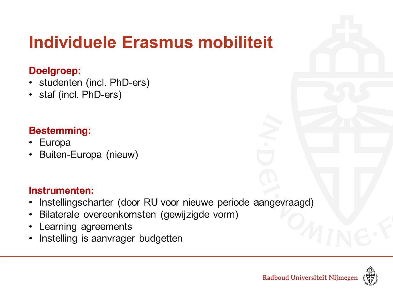Individuele Erasmus mobiliteit Doelgroep: studenten (incl.