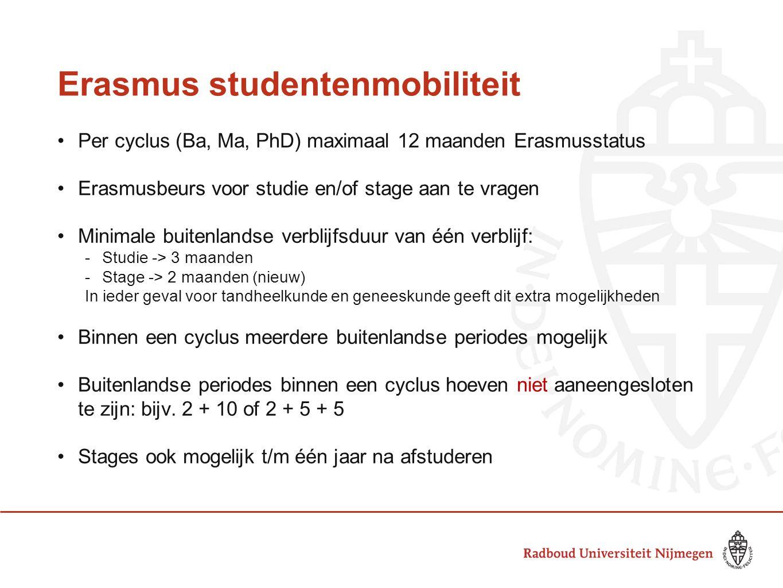Erasmus studentenmobiliteit Per cyclus (Ba, Ma, PhD) maximaal 12 maanden Erasmusstatus Erasmusbeurs voor studie en/of stage aan te vragen Minimale buitenlandse verblijfsduur van één verblijf: -Studie -> 3 maanden -Stage -> 2 maanden (nieuw) In ieder geval voor tandheelkunde en geneeskunde geeft dit extra mogelijkheden Binnen een cyclus meerdere buitenlandse periodes mogelijk Buitenlandse periodes binnen een cyclus hoeven niet aaneengesloten te zijn: bijv.