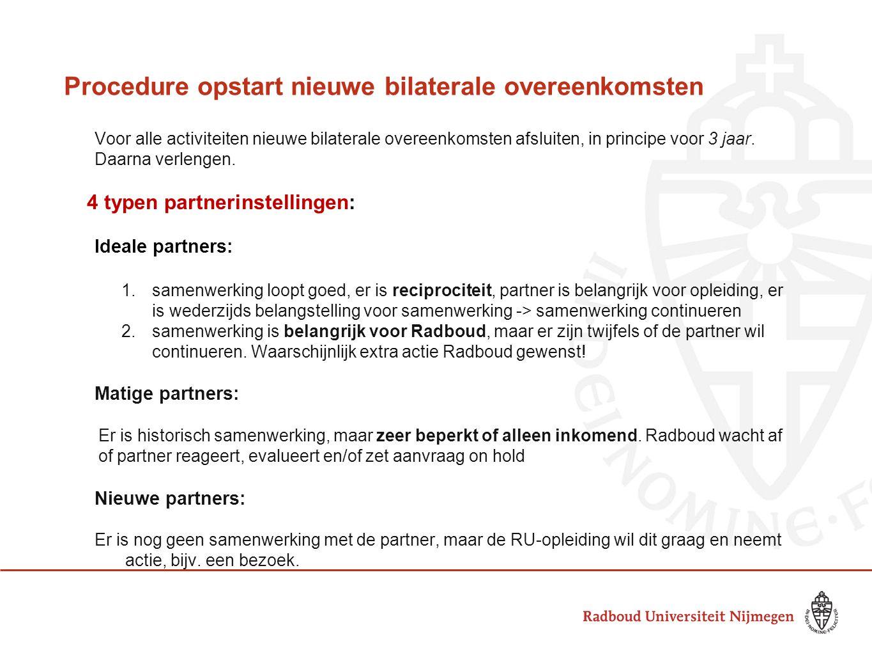 Procedure opstart nieuwe bilaterale overeenkomsten Voor alle activiteiten nieuwe bilaterale overeenkomsten afsluiten, in principe voor 3 jaar.