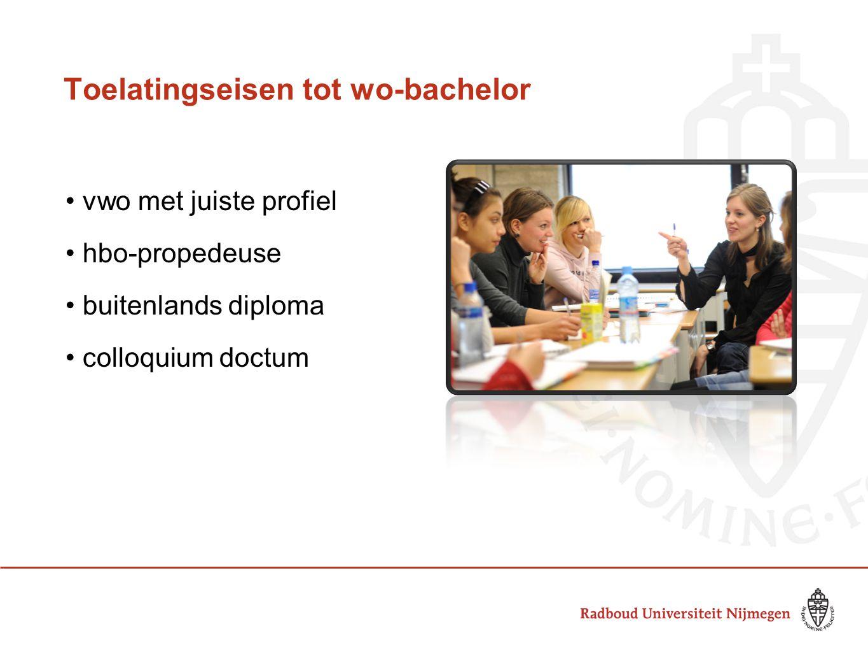 Toelatingseisen tot wo-bachelor vwo met juiste profiel hbo-propedeuse buitenlands diploma colloquium doctum