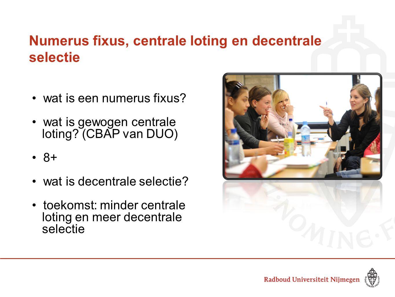Numerus fixus, centrale loting en decentrale selectie wat is een numerus fixus? wat is gewogen centrale loting? (CBAP van DUO) 8+ wat is decentrale se