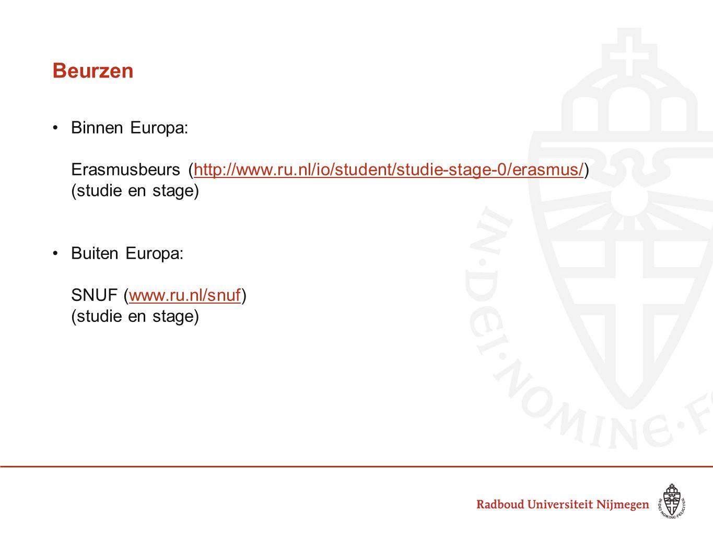 Beurzen Binnen Europa: Erasmusbeurs (http://www.ru.nl/io/student/studie-stage-0/erasmus/)http://www.ru.nl/io/student/studie-stage-0/erasmus/ (studie en stage) Buiten Europa: SNUF (www.ru.nl/snuf)www.ru.nl/snuf (studie en stage)