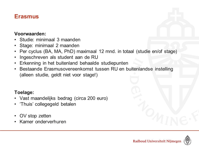 Erasmus Voorwaarden: Studie: minimaal 3 maanden Stage: minimaal 2 maanden Per cyclus (BA, MA, PhD) maximaal 12 mnd. in totaal (studie en/of stage) Ing