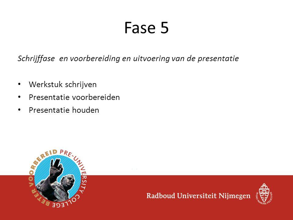 Schrijffase en voorbereiding en uitvoering van de presentatie Werkstuk schrijven Presentatie voorbereiden Presentatie houden Fase 5