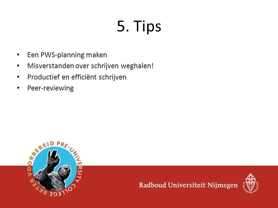 Een PWS-planning maken Misverstanden over schrijven weghalen! Productief en efficiënt schrijven Peer-reviewing 5. Tips