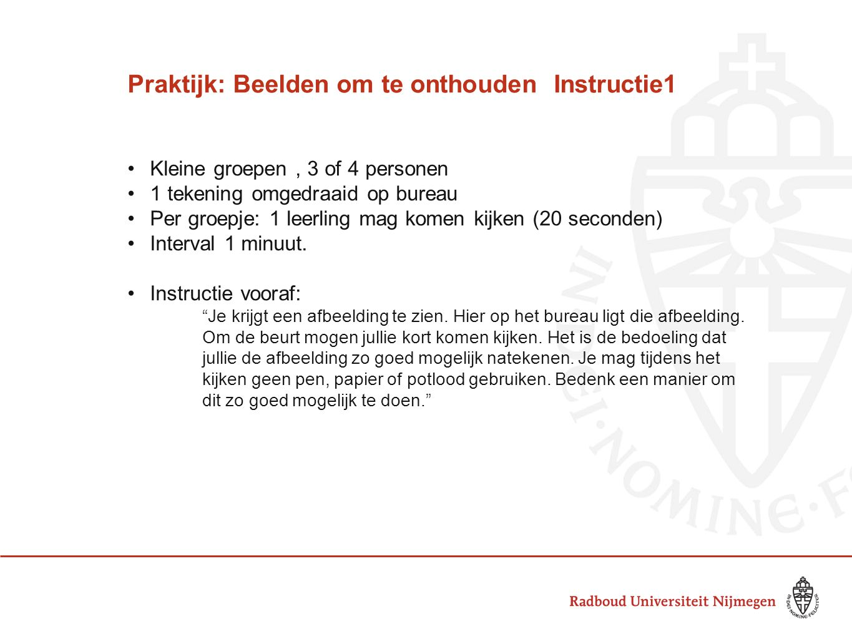Praktijk: Beelden om te onthouden Instructie1 Kleine groepen, 3 of 4 personen 1 tekening omgedraaid op bureau Per groepje: 1 leerling mag komen kijken