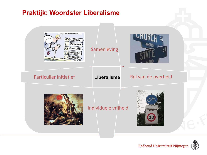Liberalisme Particulier initiatief Individuele vrijheid Samenleving Rol van de overheid Praktijk: Woordster Liberalisme