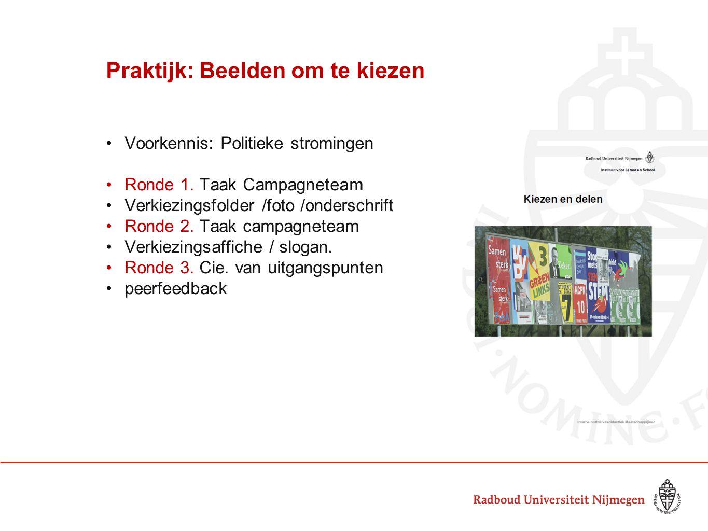Praktijk: Beelden om te kiezen Voorkennis: Politieke stromingen Ronde 1. Taak Campagneteam Verkiezingsfolder /foto /onderschrift Ronde 2. Taak campagn