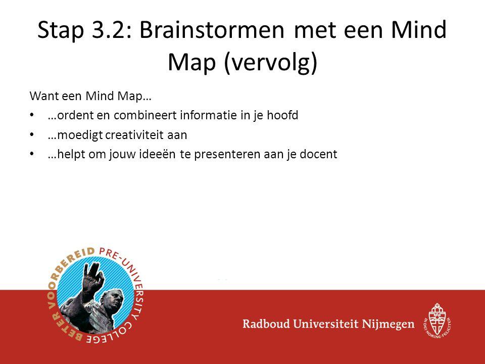 Want een Mind Map… …ordent en combineert informatie in je hoofd …moedigt creativiteit aan …helpt om jouw ideeën te presenteren aan je docent Stap 3.2: