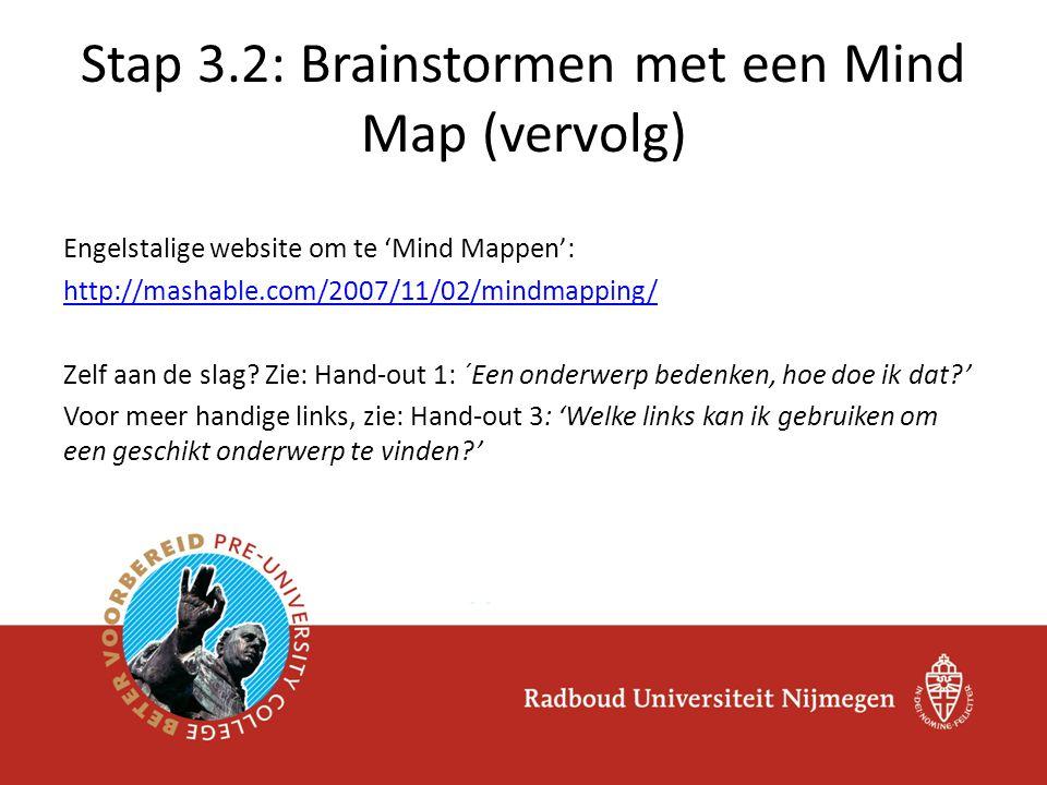 Engelstalige website om te 'Mind Mappen': http://mashable.com/2007/11/02/mindmapping/ Zelf aan de slag? Zie: Hand-out 1: ´Een onderwerp bedenken, hoe