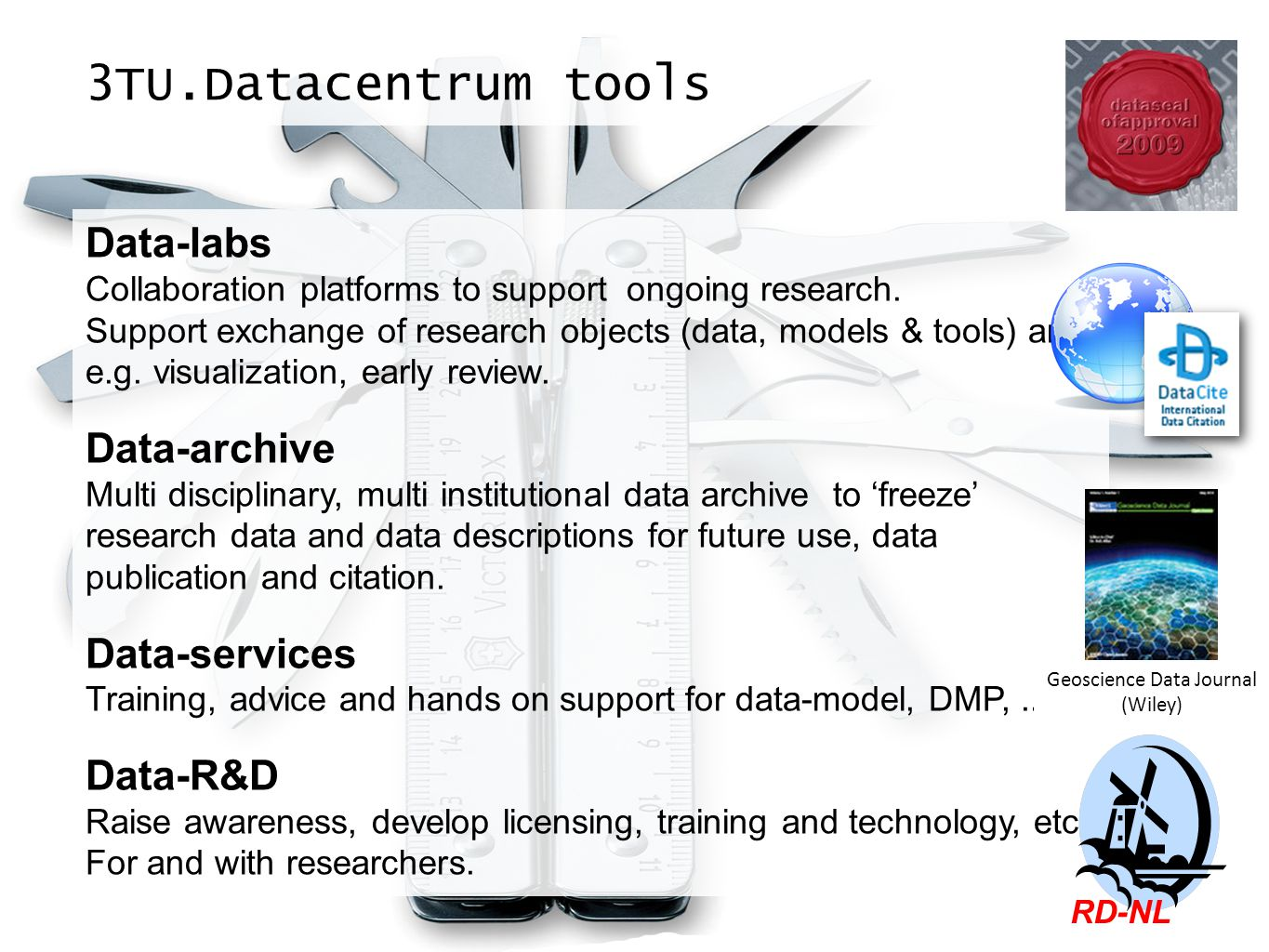 3TU.Datacentrum tools Data-labs Collaboration platforms to support ongoing research. Support exchange of research objects (data, models & tools) and e