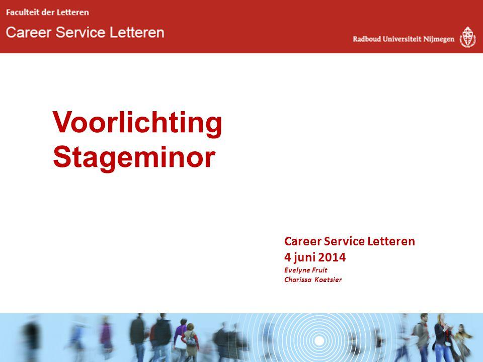 Career Service Letteren 4 juni 2014 Evelyne Fruit Charissa Koetsier Voorlichting Stageminor