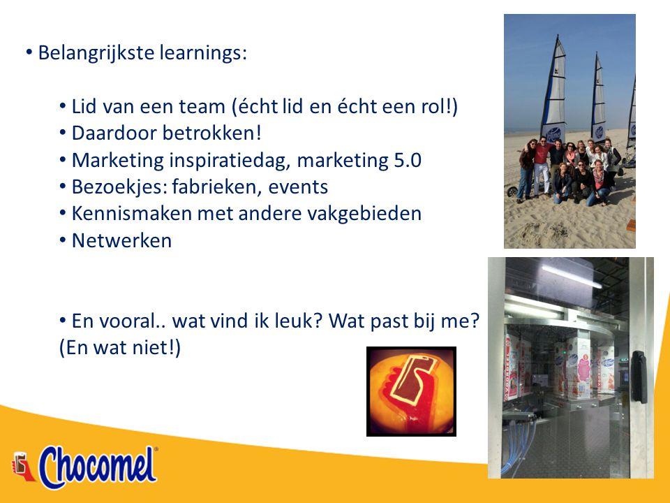 Belangrijkste learnings: Lid van een team (écht lid en écht een rol!) Daardoor betrokken! Marketing inspiratiedag, marketing 5.0 Bezoekjes: fabrieken,