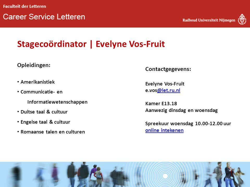 Stagecoördinator | Evelyne Vos-Fruit Opleidingen: Amerikanistiek Communicatie- en Informatiewetenschappen Duitse taal & cultuur Engelse taal & cultuur