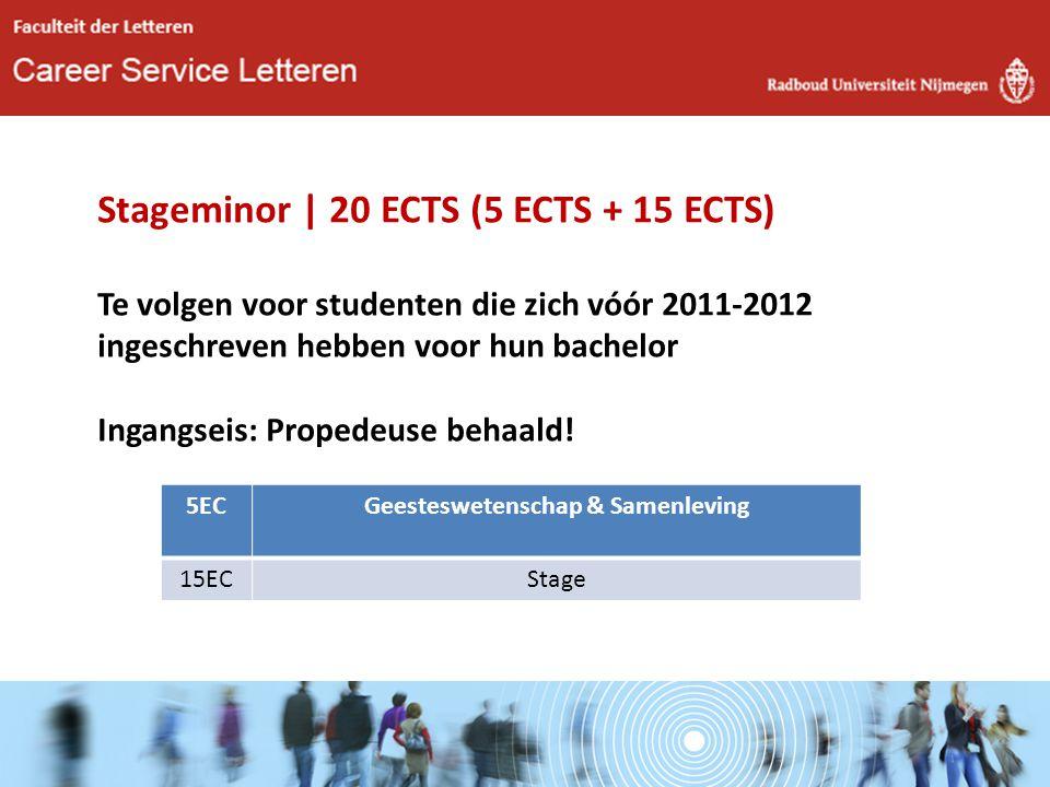Stageminor | 20 ECTS (5 ECTS + 15 ECTS) Te volgen voor studenten die zich vóór 2011-2012 ingeschreven hebben voor hun bachelor Ingangseis: Propedeuse