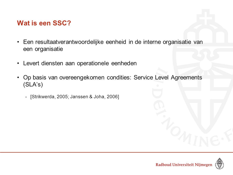 Wat is een SSC? Een resultaatverantwoordelijke eenheid in de interne organisatie van een organisatie Levert diensten aan operationele eenheden Op basi