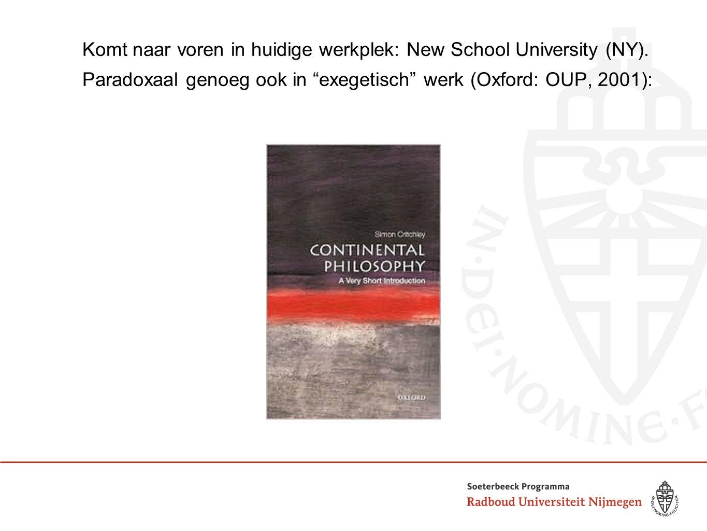 """Komt naar voren in huidige werkplek: New School University (NY). Paradoxaal genoeg ook in """"exegetisch"""" werk (Oxford: OUP, 2001):"""