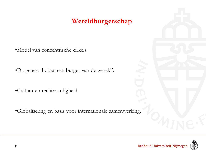 Wereldburgerschap Model van concentrische cirkels. Diogenes: 'Ik ben een burger van de wereld'. Cultuur en rechtvaardigheid. Globalisering en basis vo