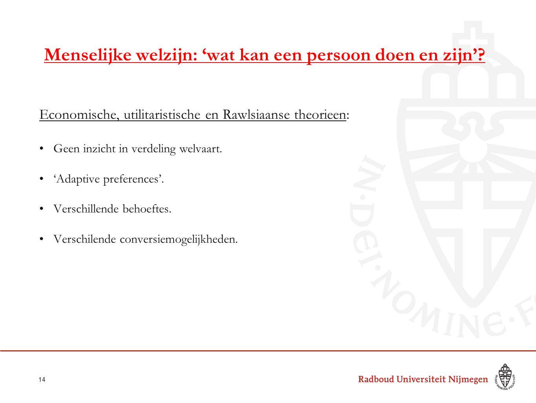 Menselijke welzijn: 'wat kan een persoon doen en zijn'? Economische, utilitaristische en Rawlsiaanse theorieen: Geen inzicht in verdeling welvaart. 'A