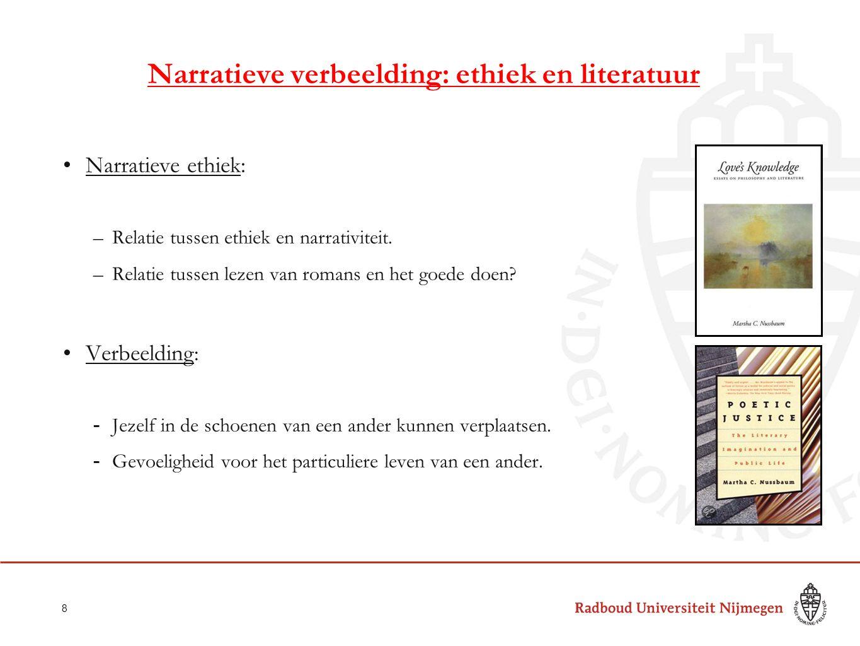Narratieve verbeelding: ethiek en literatuur Narratieve ethiek: –Relatie tussen ethiek en narrativiteit. –Relatie tussen lezen van romans en het goede