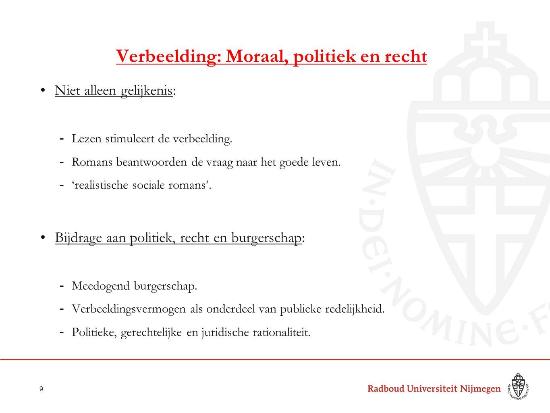 Verbeelding: Moraal, politiek en recht Niet alleen gelijkenis: -Lezen stimuleert de verbeelding. -Romans beantwoorden de vraag naar het goede leven. -
