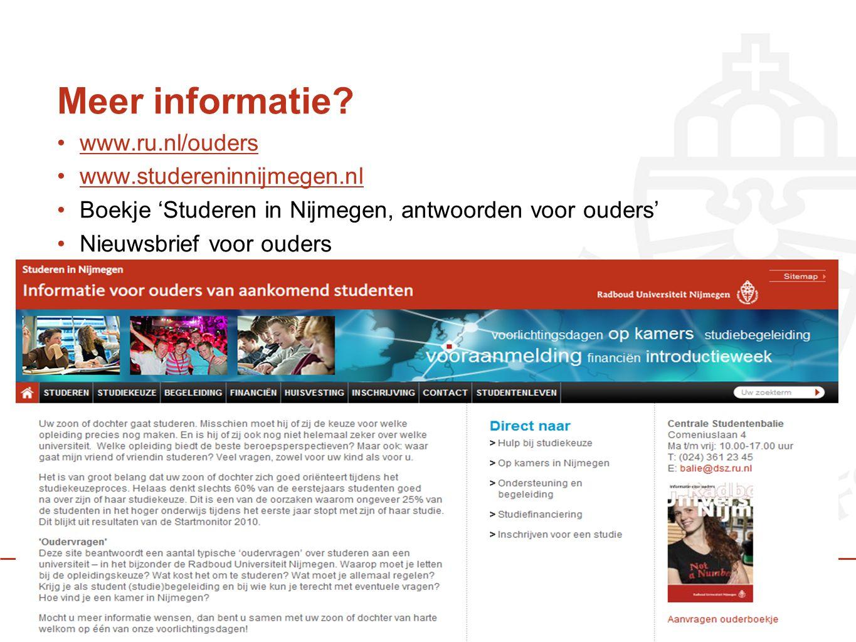 Meer informatie? www.ru.nl/ouders www.studereninnijmegen.nl Boekje 'Studeren in Nijmegen, antwoorden voor ouders' Nieuwsbrief voor ouders
