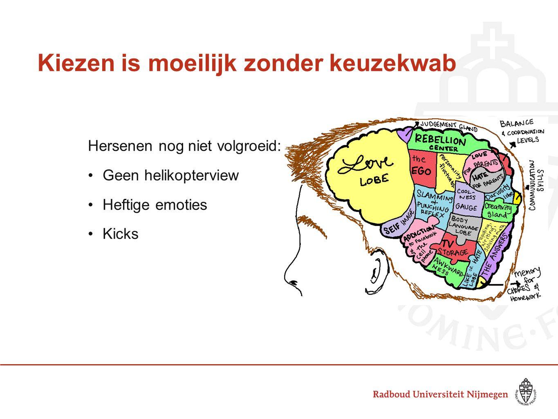 Kiezen is moeilijk zonder keuzekwab Hersenen nog niet volgroeid: Geen helikopterview Heftige emoties Kicks (bron: Puberbrein binnenstebuiten)