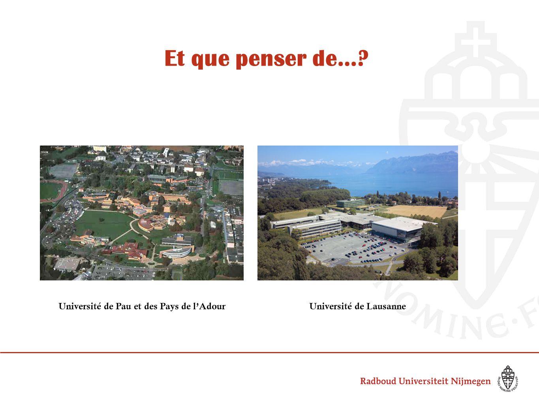 Et que penser de… Université de Pau et des Pays de l'AdourUniversité de Lausanne
