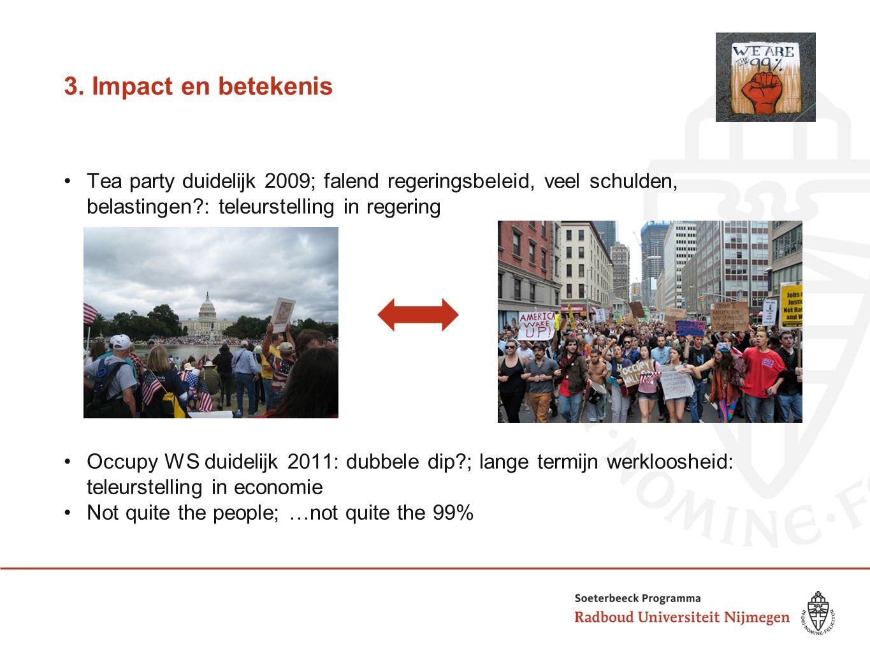 3. Impact en betekenis Tea party duidelijk 2009; falend regeringsbeleid, veel schulden, belastingen?: teleurstelling in regering Occupy WS duidelijk 2