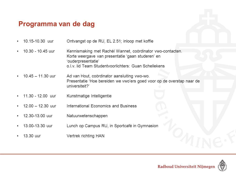 Programma van de dag 10.15-10.30 uurOntvangst op de RU, EL 2.51; inloop met koffie 10.30 - 10.45 uur Kennismaking met Rachèl Wannet, coördinator vwo-c