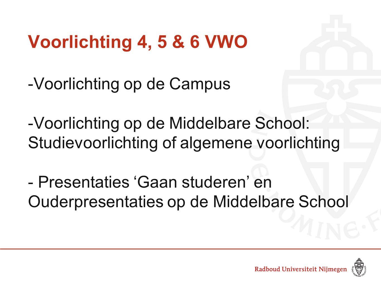 Voorlichting 4, 5 & 6 VWO -Voorlichting op de Campus -Voorlichting op de Middelbare School: Studievoorlichting of algemene voorlichting - Presentaties
