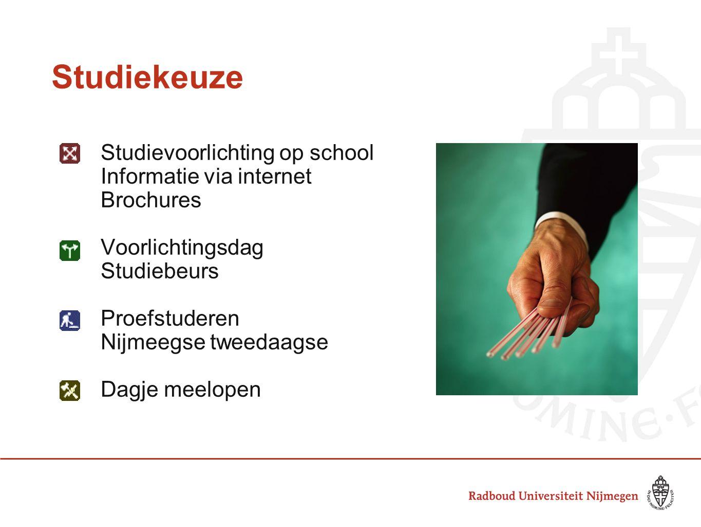 Studiekeuze Studievoorlichting op school Informatie via internet Brochures Voorlichtingsdag Studiebeurs Proefstuderen Nijmeegse tweedaagse Dagje meelo