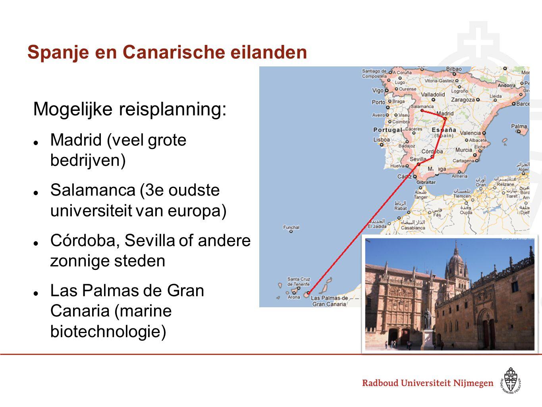 Spanje en Canarische eilanden Mogelijke reisplanning: Madrid (veel grote bedrijven) Salamanca (3e oudste universiteit van europa) Córdoba, Sevilla of
