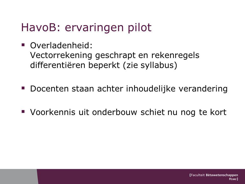 HavoB: ervaringen pilot  Overladenheid: Vectorrekening geschrapt en rekenregels differentiëren beperkt (zie syllabus)  Docenten staan achter inhoude