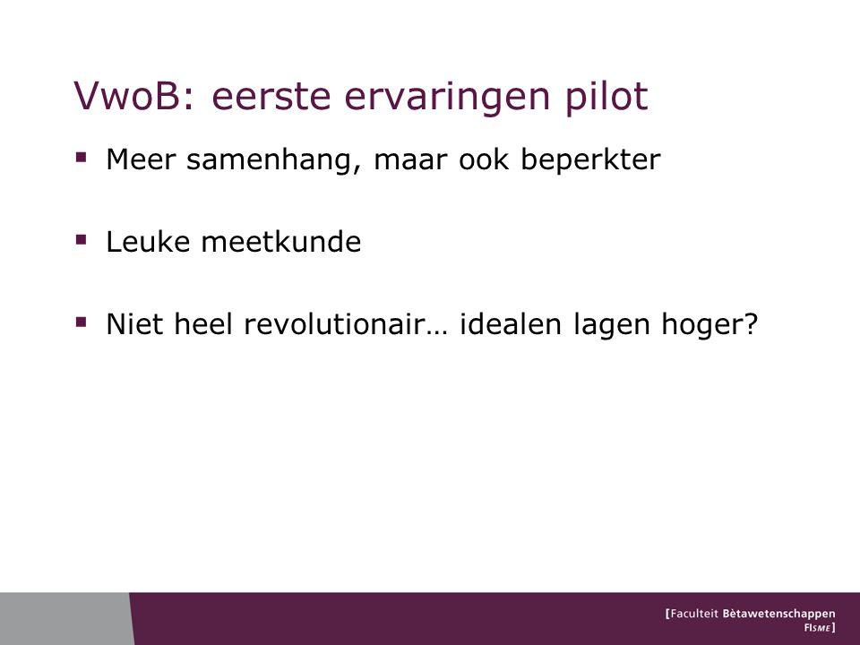VwoB: eerste ervaringen pilot  Meer samenhang, maar ook beperkter  Leuke meetkunde  Niet heel revolutionair… idealen lagen hoger?