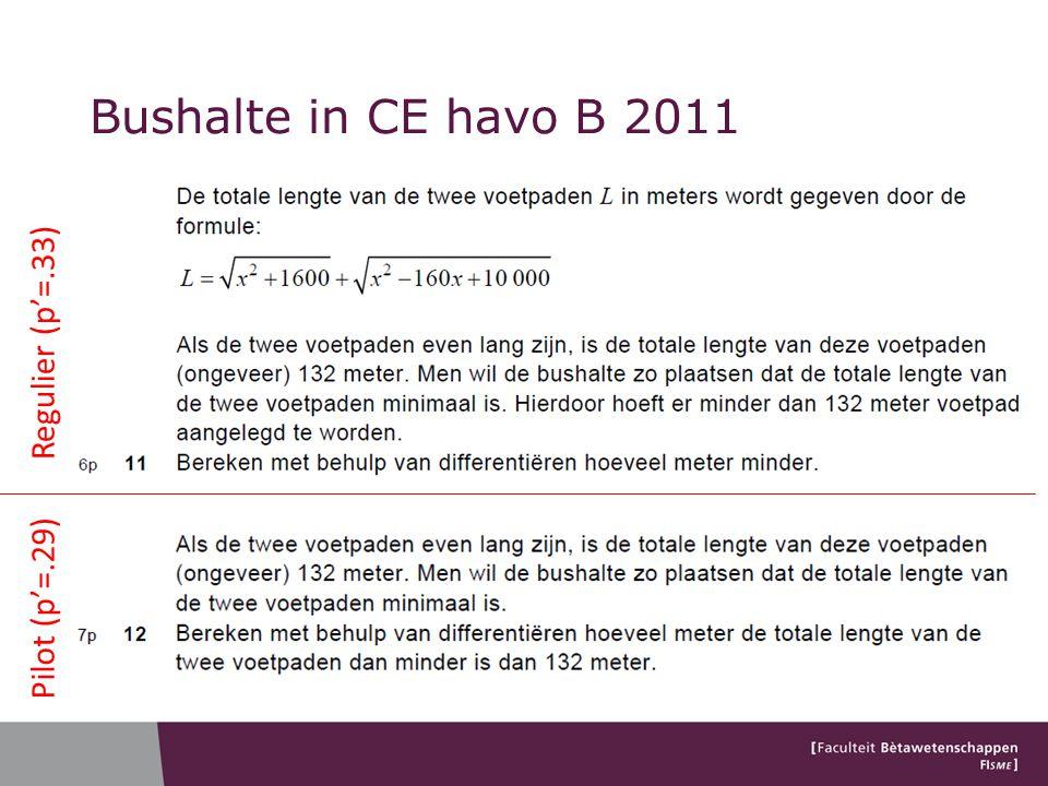 Regulier (p'=.33) Pilot (p'=.29) Bushalte in CE havo B 2011
