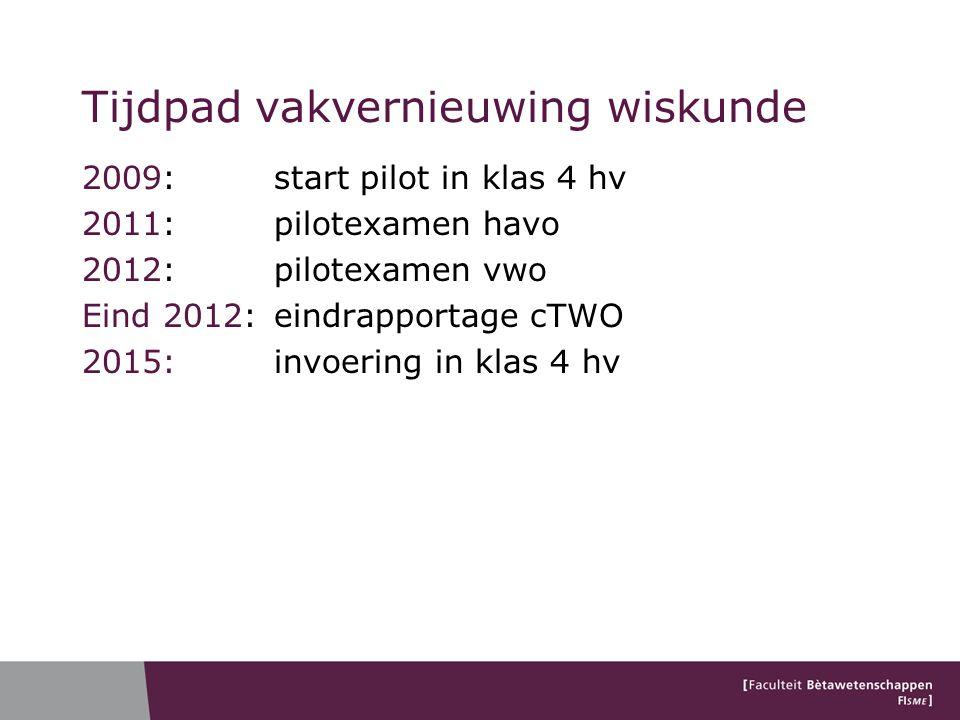 Tijdpad vakvernieuwing wiskunde 2009: start pilot in klas 4 hv 2011: pilotexamen havo 2012: pilotexamen vwo Eind 2012: eindrapportage cTWO 2015: invoe