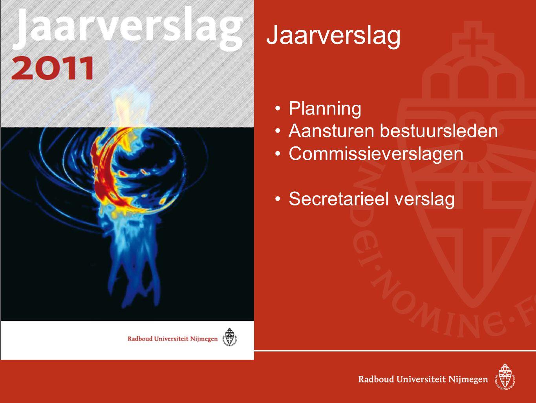 Jaarverslag Planning Aansturen bestuursleden Commissieverslagen Secretarieel verslag