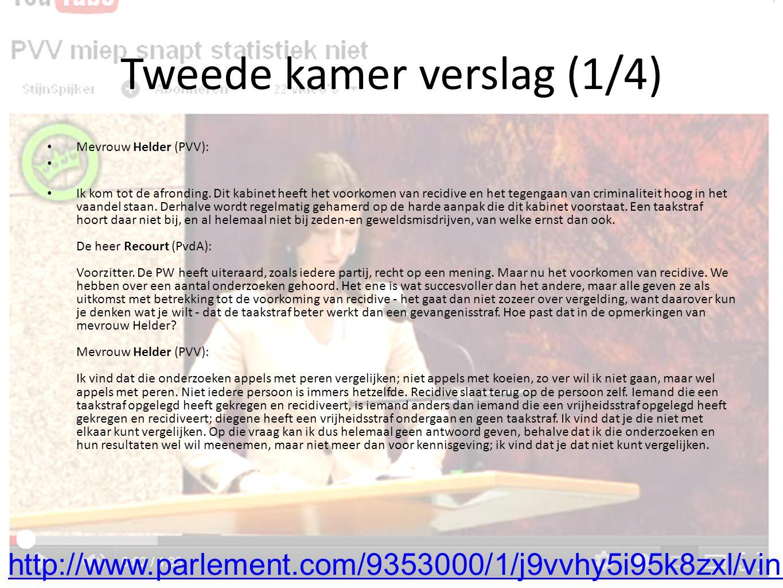 Tweede kamer verslag (1/4) Mevrouw Helder (PVV): Ik kom tot de afronding.