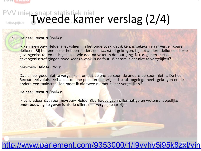 Tweede kamer verslag (2/4) De heer Recourt (PvdA): Ik kan mevrouw Helder niet volgen.