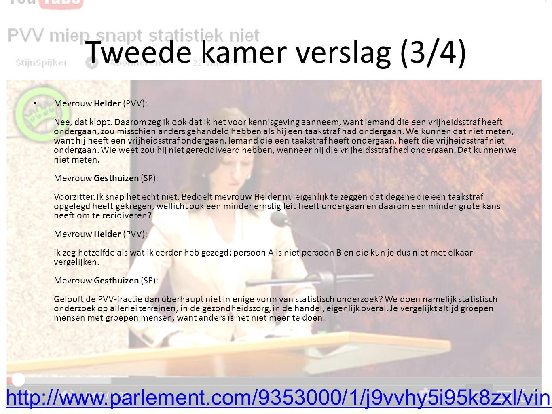 Tweede kamer verslag (3/4) Mevrouw Helder (PVV): Nee, dat klopt.