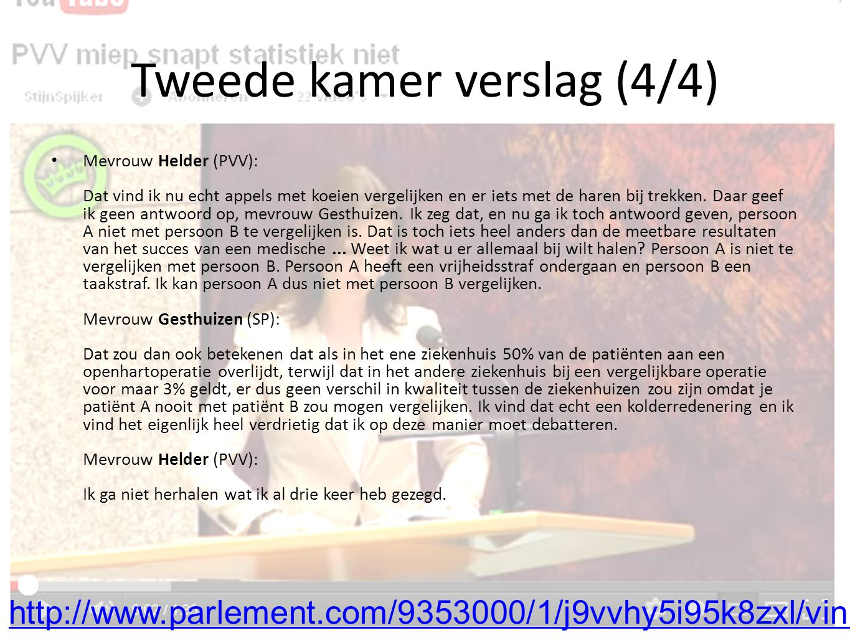 Tweede kamer verslag (4/4) Mevrouw Helder (PVV): Dat vind ik nu echt appels met koeien vergelijken en er iets met de haren bij trekken.