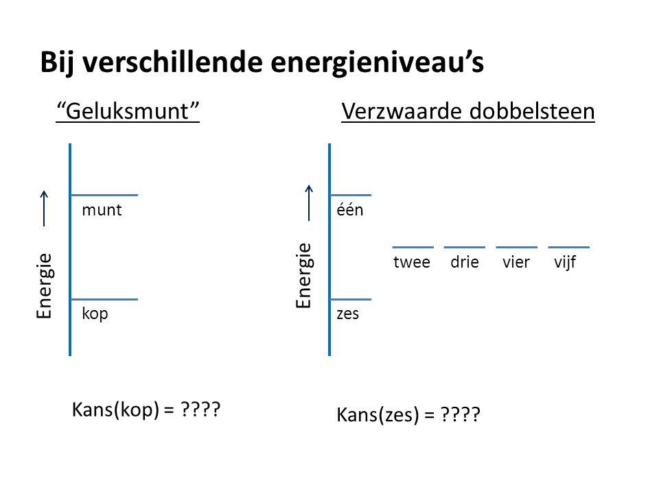 """Bij verschillende energieniveau's """"Geluksmunt"""" Energie kop munt Kans(kop) = ???? Verzwaarde dobbelsteen Energie één tweedrieviervijf zes Kans(zes) = ?"""