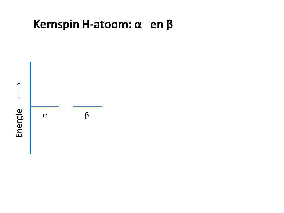 α β Kernspin α en β in sterk magnetisch veld. Bij T = 50 K en B = 4 Tesla 1,13 · 10 -25 J