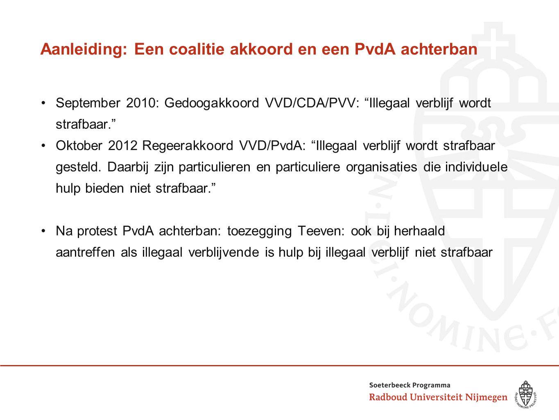 Aanleiding: Een coalitie akkoord en een PvdA achterban September 2010: Gedoogakkoord VVD/CDA/PVV: Illegaal verblijf wordt strafbaar. Oktober 2012 Regeerakkoord VVD/PvdA: Illegaal verblijf wordt strafbaar gesteld.