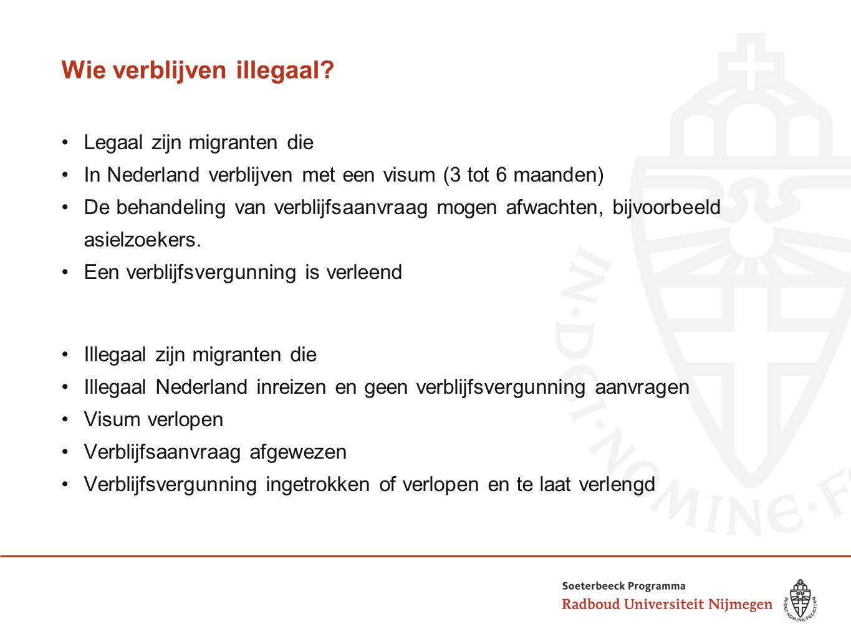 Wie verblijven illegaal? Legaal zijn migranten die In Nederland verblijven met een visum (3 tot 6 maanden) De behandeling van verblijfsaanvraag mogen