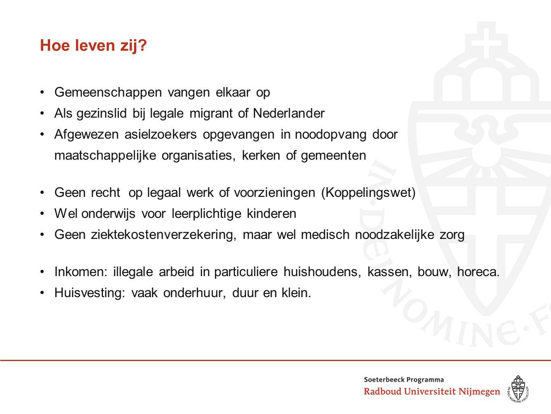 Hoe leven zij? Gemeenschappen vangen elkaar op Als gezinslid bij legale migrant of Nederlander Afgewezen asielzoekers opgevangen in noodopvang door ma