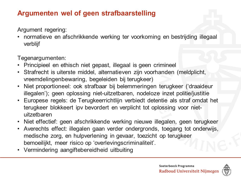 Argumenten wel of geen strafbaarstelling Argument regering: normatieve en afschrikkende werking ter voorkoming en bestrijding illegaal verblijf Tegena