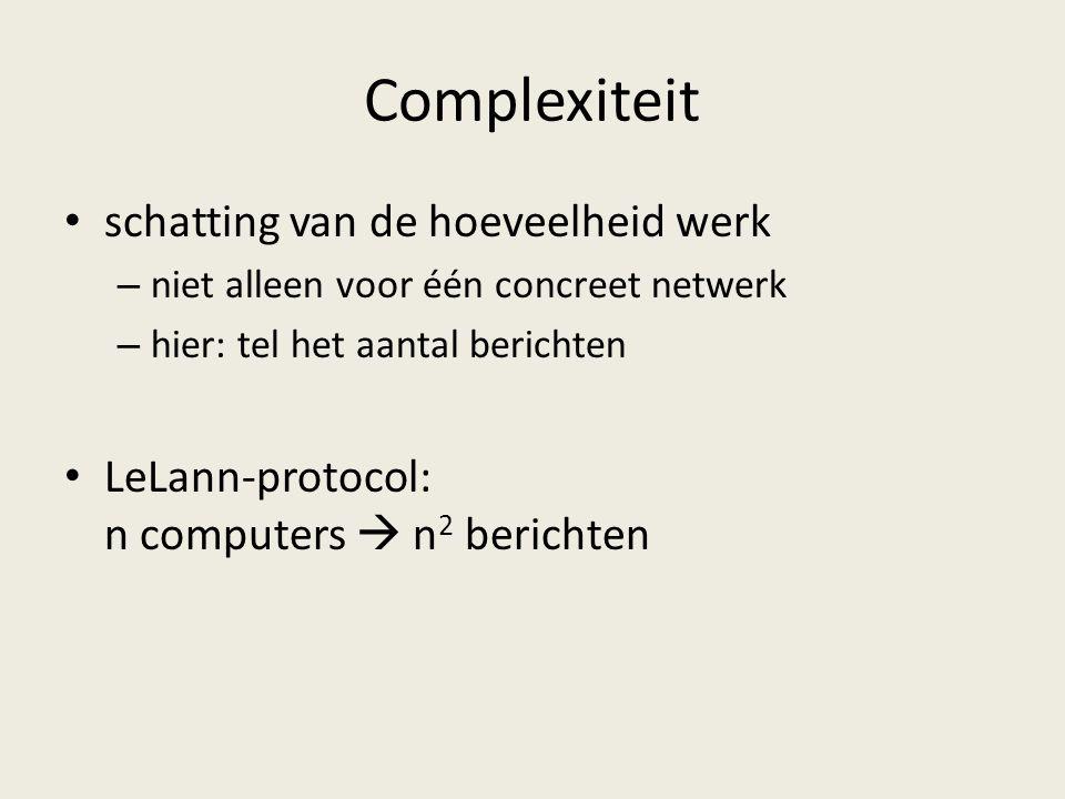 Complexiteit schatting van de hoeveelheid werk – niet alleen voor één concreet netwerk – hier: tel het aantal berichten LeLann-protocol: n computers  n 2 berichten