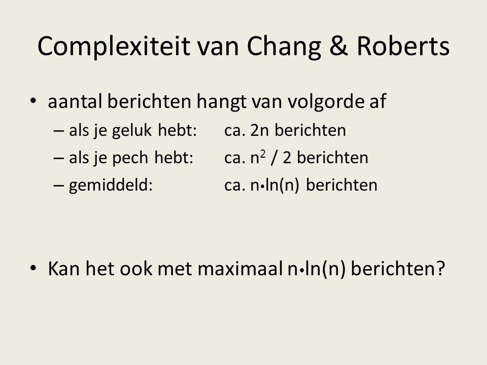 Complexiteit van Chang & Roberts aantal berichten hangt van volgorde af – als je geluk hebt:ca.